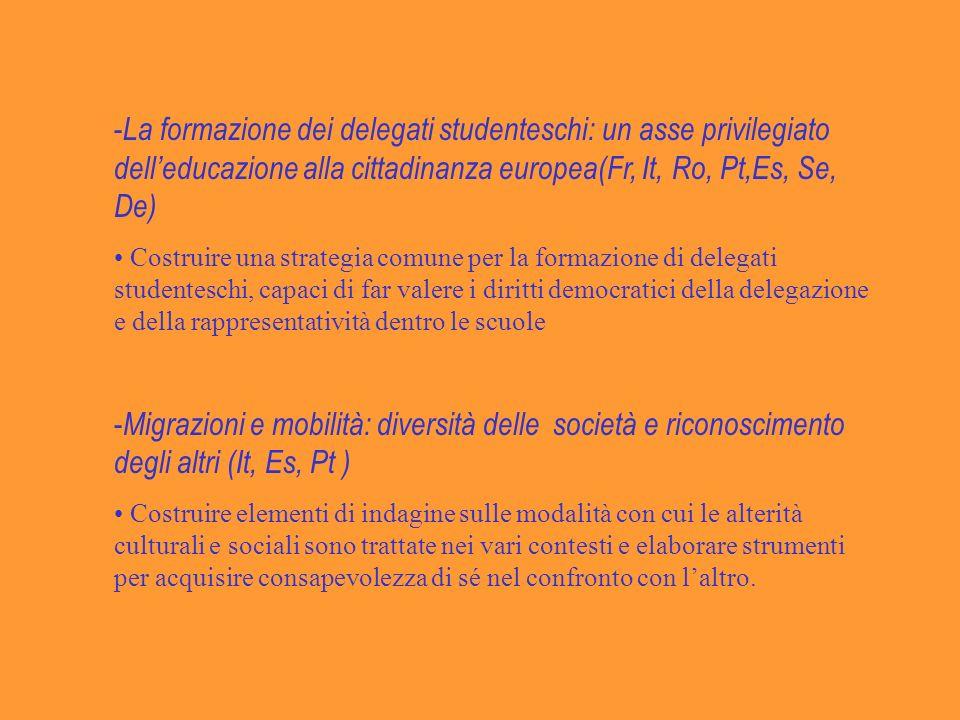 - La formazione dei delegati studenteschi: un asse privilegiato delleducazione alla cittadinanza europea(Fr, It, Ro, Pt,Es, Se, De) Costruire una strategia comune per la formazione di delegati studenteschi, capaci di far valere i diritti democratici della delegazione e della rappresentatività dentro le scuole - Migrazioni e mobilità: diversità delle società e riconoscimento degli altri (It, Es, Pt ) Costruire elementi di indagine sulle modalità con cui le alterità culturali e sociali sono trattate nei vari contesti e elaborare strumenti per acquisire consapevolezza di sé nel confronto con laltro.