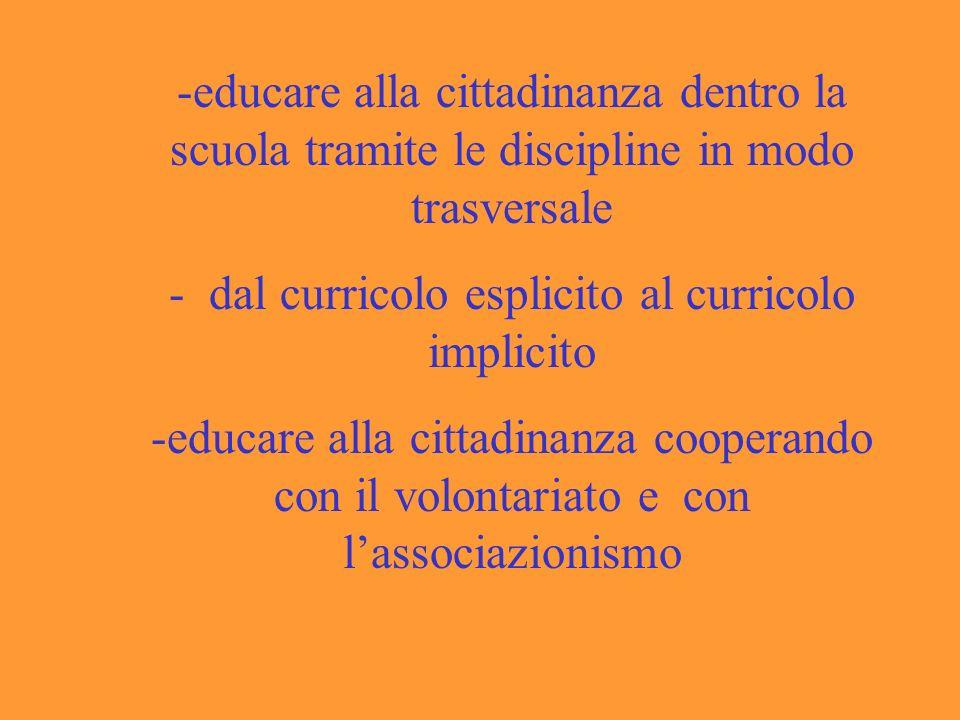 -educare alla cittadinanza dentro la scuola tramite le discipline in modo trasversale - dal curricolo esplicito al curricolo implicito -educare alla cittadinanza cooperando con il volontariato e con lassociazionismo
