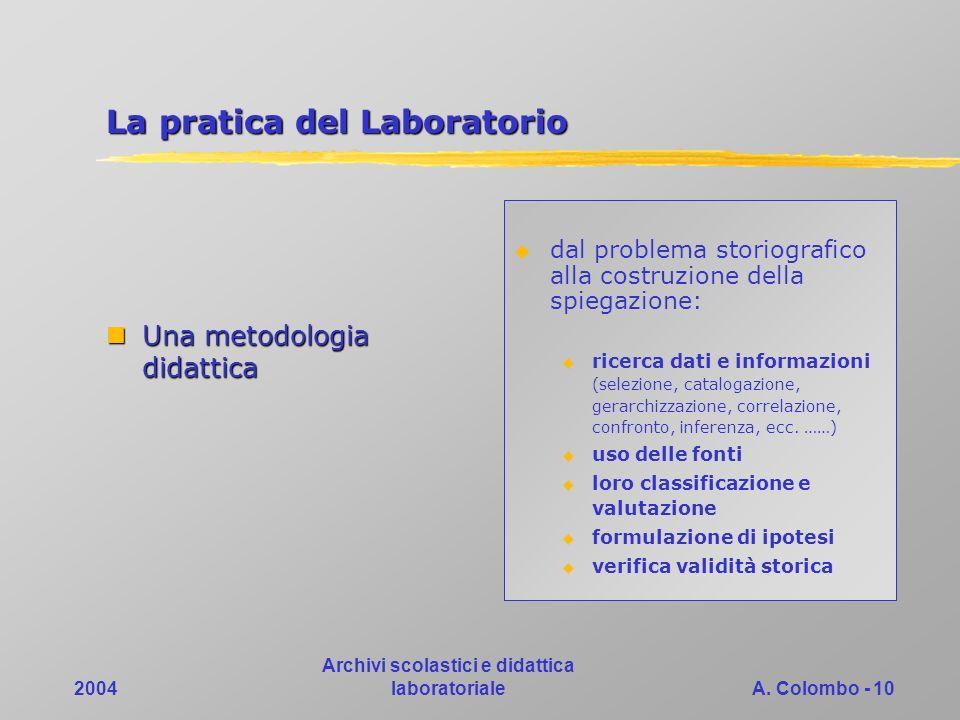 2004 Archivi scolastici e didattica laboratorialeA. Colombo - 10 La pratica del Laboratorio Una metodologia didattica Una metodologia didattica dal pr