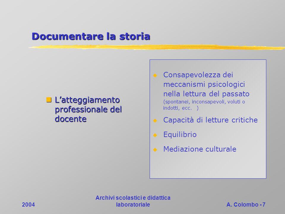 2004 Archivi scolastici e didattica laboratorialeA. Colombo - 7 Documentare la storia Latteggiamento professionale del docente Latteggiamento professi