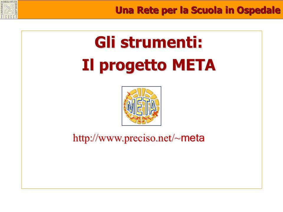 Una Rete per la Scuola in Ospedale Gli strumenti: Il progetto META http://www.preciso.net/~ meta