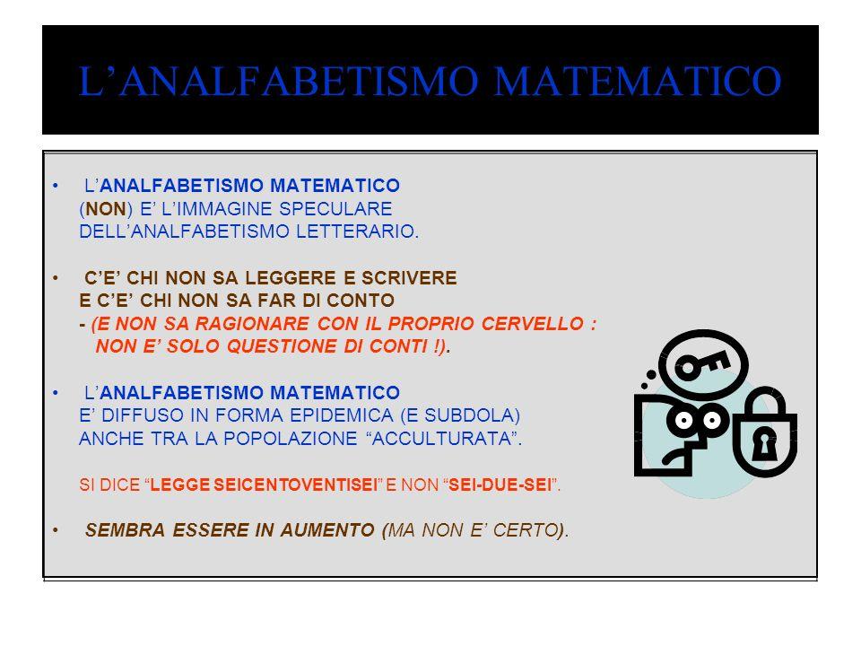LANALFABETISMO MATEMATICO (NON) E LIMMAGINE SPECULARE DELLANALFABETISMO LETTERARIO.