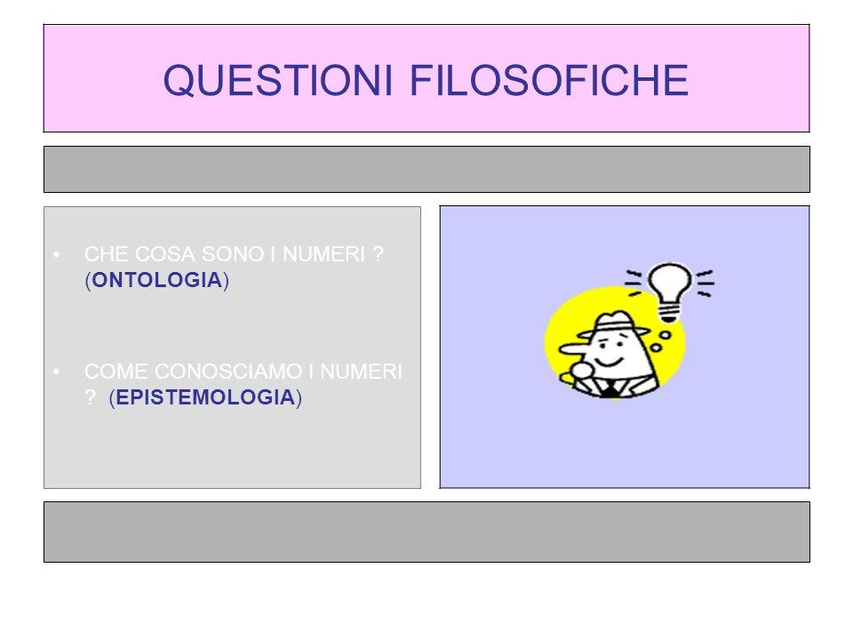 QUESTIONI FILOSOFICHE CHE COSA SONO I NUMERI .(ONTOLOGIA) COME CONOSCIAMO I NUMERI .