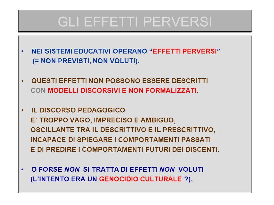 GLI EFFETTI PERVERSI NEI SISTEMI EDUCATIVI OPERANO EFFETTI PERVERSI (= NON PREVISTI, NON VOLUTI).