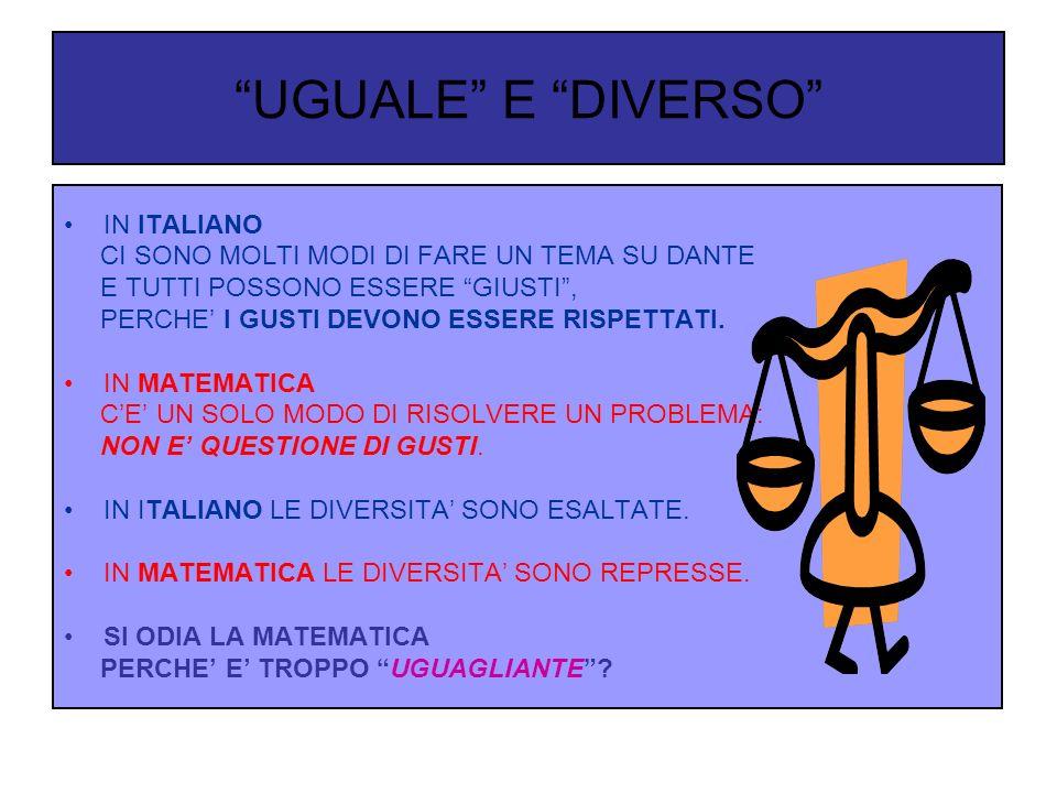 UGUALE E DIVERSO IN ITALIANO CI SONO MOLTI MODI DI FARE UN TEMA SU DANTE E TUTTI POSSONO ESSERE GIUSTI, PERCHE I GUSTI DEVONO ESSERE RISPETTATI.