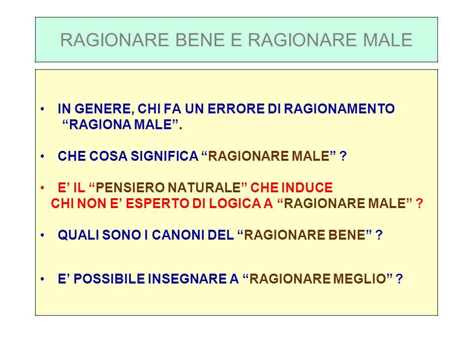 RAGIONARE BENE E RAGIONARE MALE IN GENERE, CHI FA UN ERRORE DI RAGIONAMENTO RAGIONA MALE.