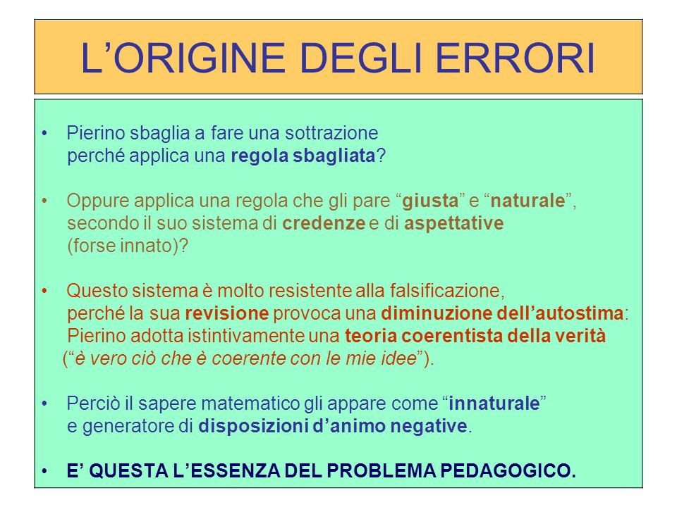 LORIGINE DEGLI ERRORI Pierino sbaglia a fare una sottrazione perché applica una regola sbagliata.