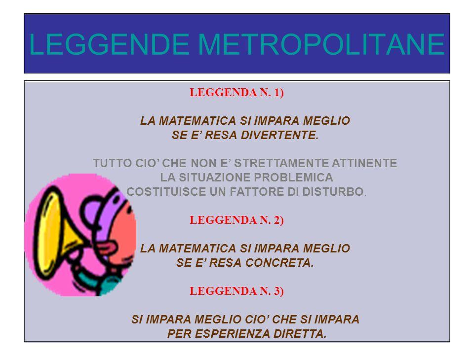 LEGGENDE METROPOLITANE LEGGENDA N.1) LA MATEMATICA SI IMPARA MEGLIO SE E RESA DIVERTENTE.