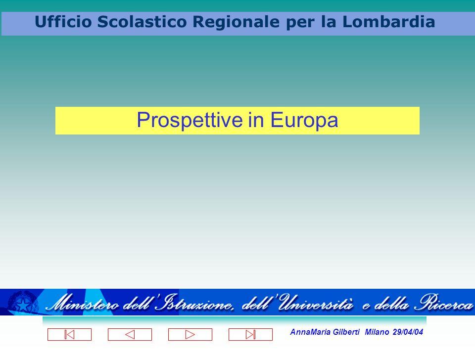 AnnaMaria Gilberti Milano 29/04/04 Ufficio Scolastico Regionale per la Lombardia Prospettive in Europa