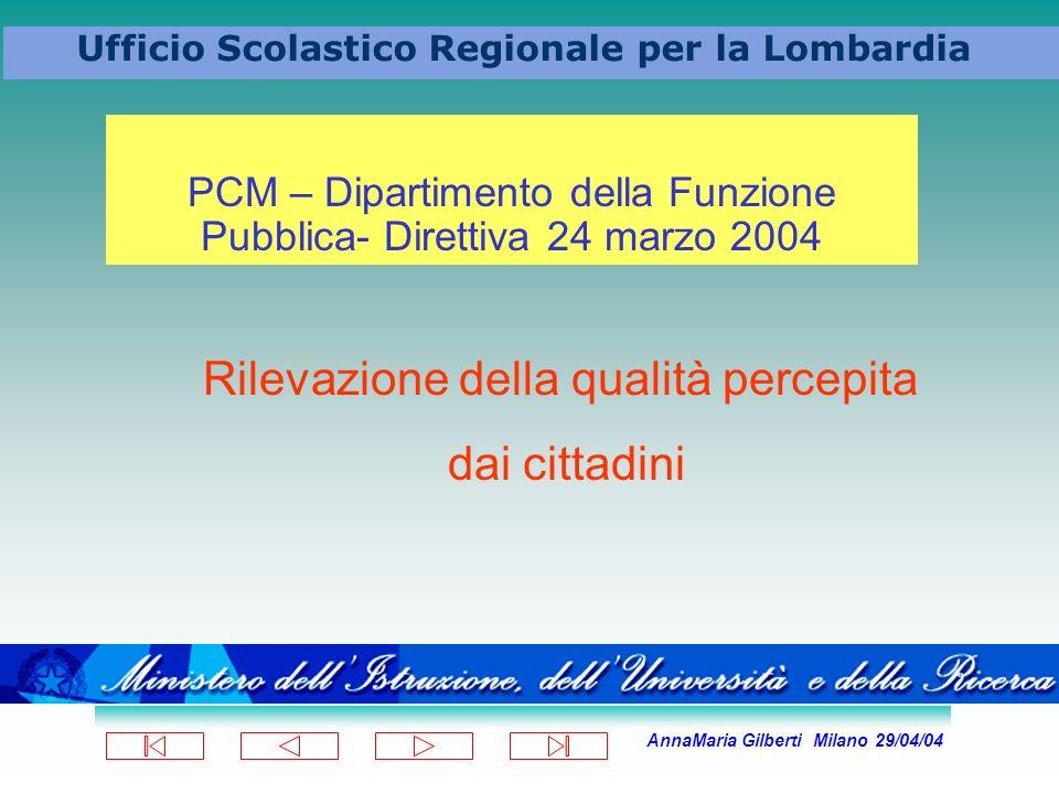 AnnaMaria Gilberti Milano 29/04/04 Ufficio Scolastico Regionale per la Lombardia PCM – Dipartimento della Funzione Pubblica- Direttiva 24 marzo 2004 R