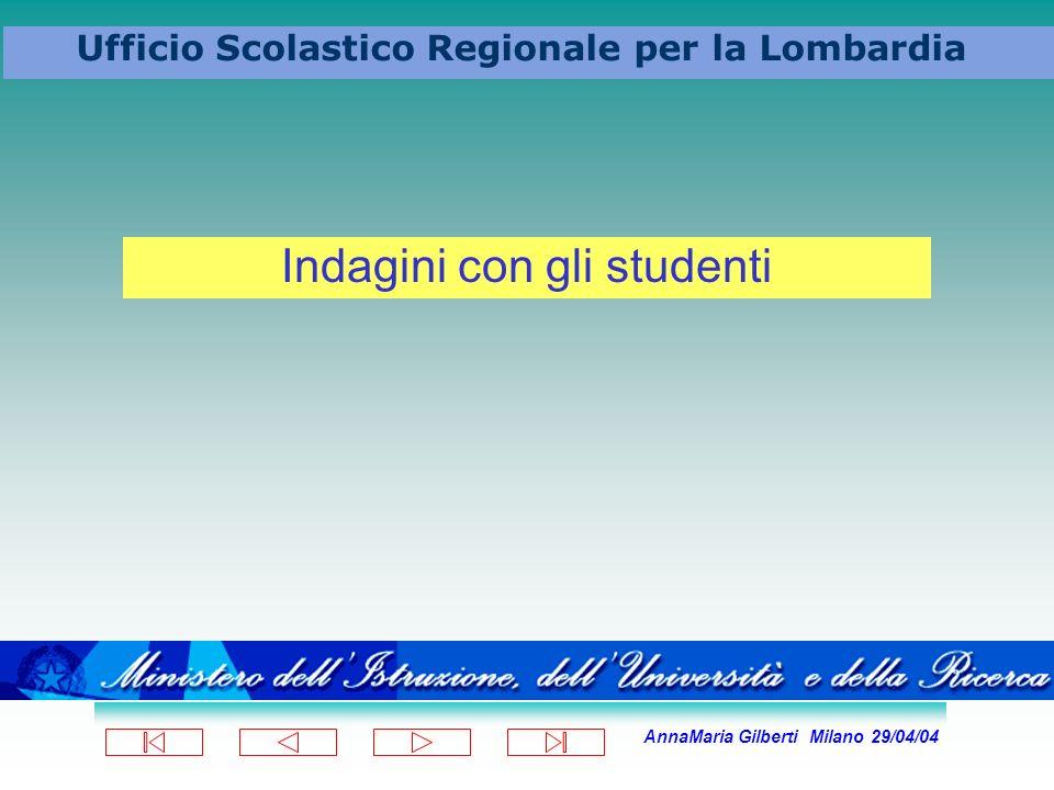 AnnaMaria Gilberti Milano 29/04/04 Ufficio Scolastico Regionale per la Lombardia Indagini con gli studenti
