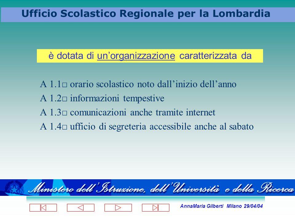 AnnaMaria Gilberti Milano 29/04/04 Ufficio Scolastico Regionale per la Lombardia A 1.1 orario scolastico noto dallinizio dellanno A 1.2 informazioni t