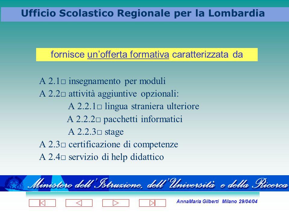 AnnaMaria Gilberti Milano 29/04/04 Ufficio Scolastico Regionale per la Lombardia A 2.1 insegnamento per moduli A 2.2 attività aggiuntive opzionali: A