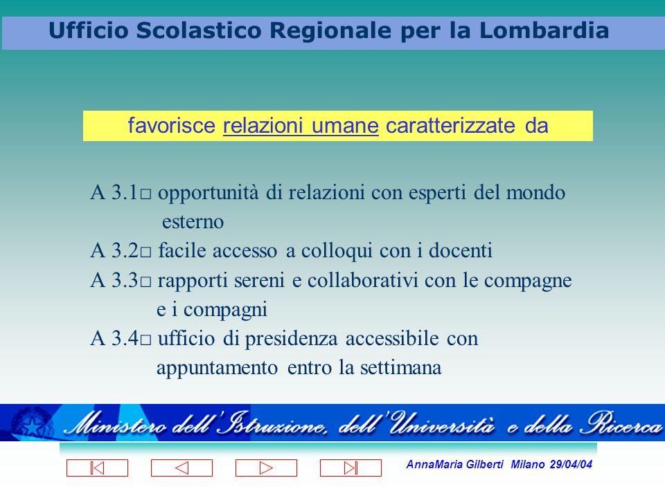 AnnaMaria Gilberti Milano 29/04/04 Ufficio Scolastico Regionale per la Lombardia A 3.1 opportunità di relazioni con esperti del mondo esterno A 3.2 fa