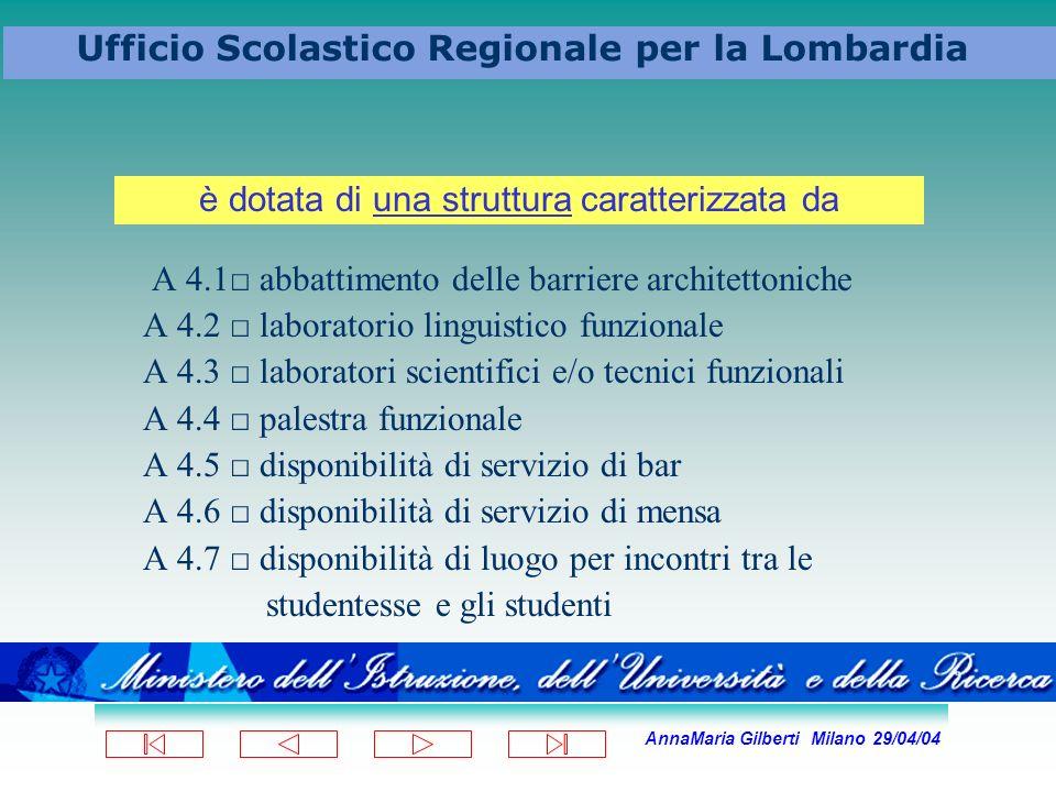 AnnaMaria Gilberti Milano 29/04/04 Ufficio Scolastico Regionale per la Lombardia A 4.1 abbattimento delle barriere architettoniche A 4.2 laboratorio l
