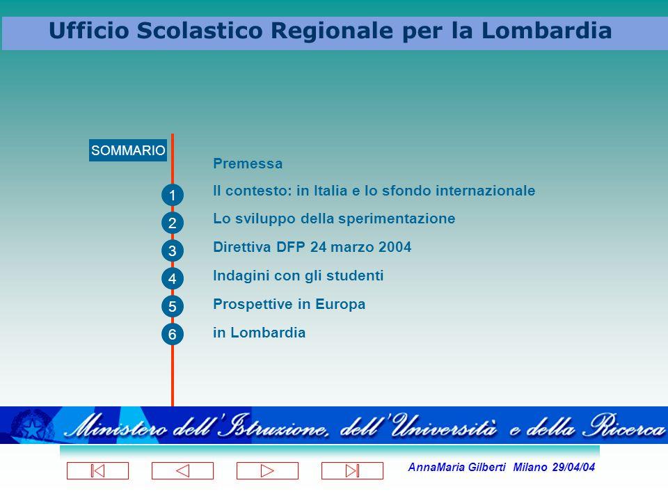AnnaMaria Gilberti Milano 29/04/04 Ufficio Scolastico Regionale per la Lombardia SOMMARIO 1 2 3 4 5 6 Premessa Il contesto: in Italia e lo sfondo inte
