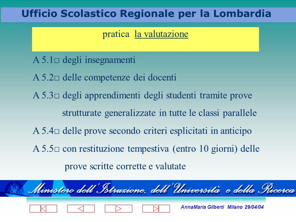 AnnaMaria Gilberti Milano 29/04/04 Ufficio Scolastico Regionale per la Lombardia pratica la valutazione A 5.1 degli insegnamenti A 5.2 delle competenz