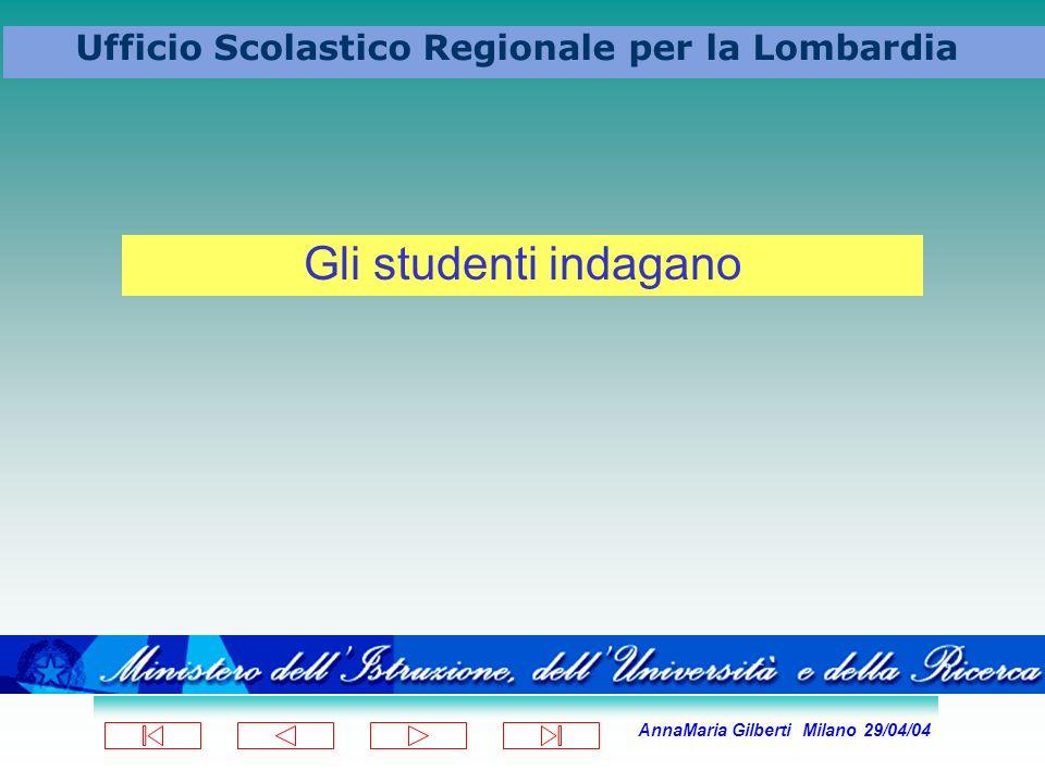 AnnaMaria Gilberti Milano 29/04/04 Ufficio Scolastico Regionale per la Lombardia Gli studenti indagano