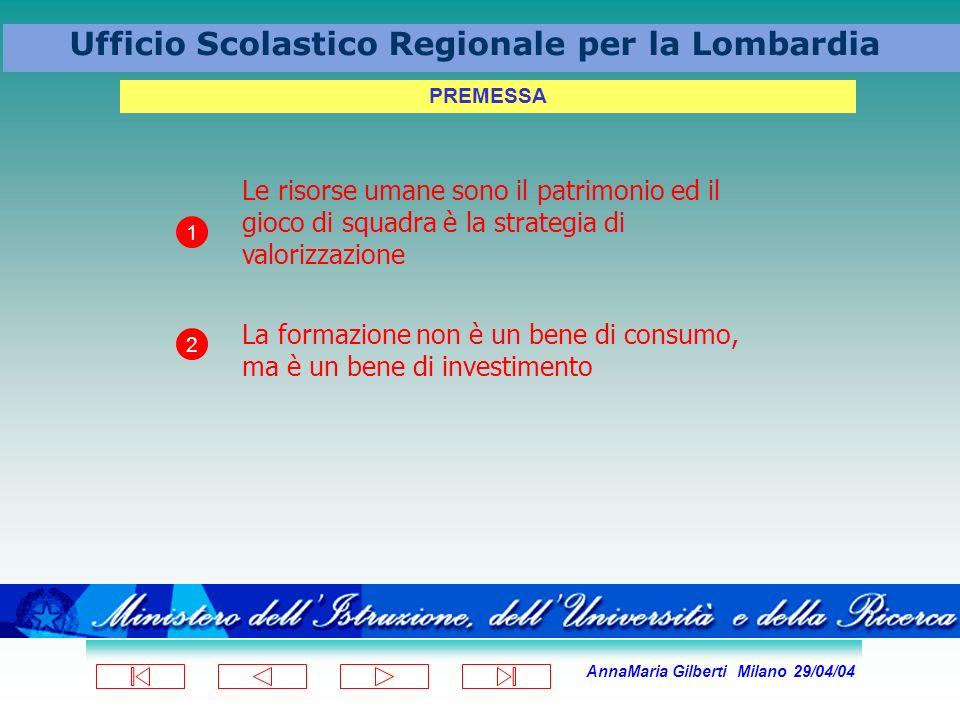 AnnaMaria Gilberti Milano 29/04/04 Ufficio Scolastico Regionale per la Lombardia PREMESSA Le risorse umane sono il patrimonio ed il gioco di squadra è