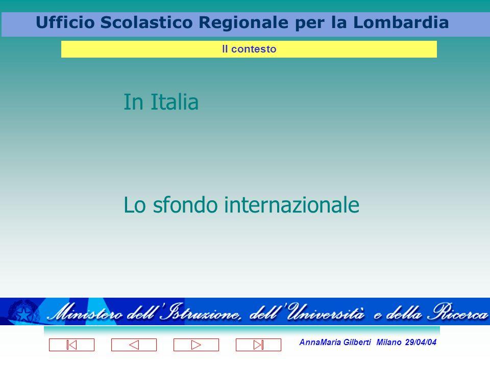 AnnaMaria Gilberti Milano 29/04/04 Ufficio Scolastico Regionale per la Lombardia Il contesto In Italia Lo sfondo internazionale
