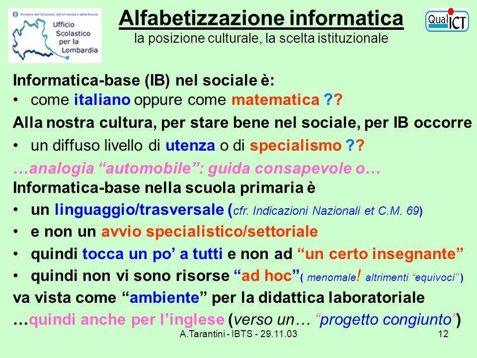 A.Tarantini - IBTS - 29.11.0312 Alfabetizzazione informatica la posizione culturale, la scelta istituzionale Informatica-base (IB) nel sociale è: come
