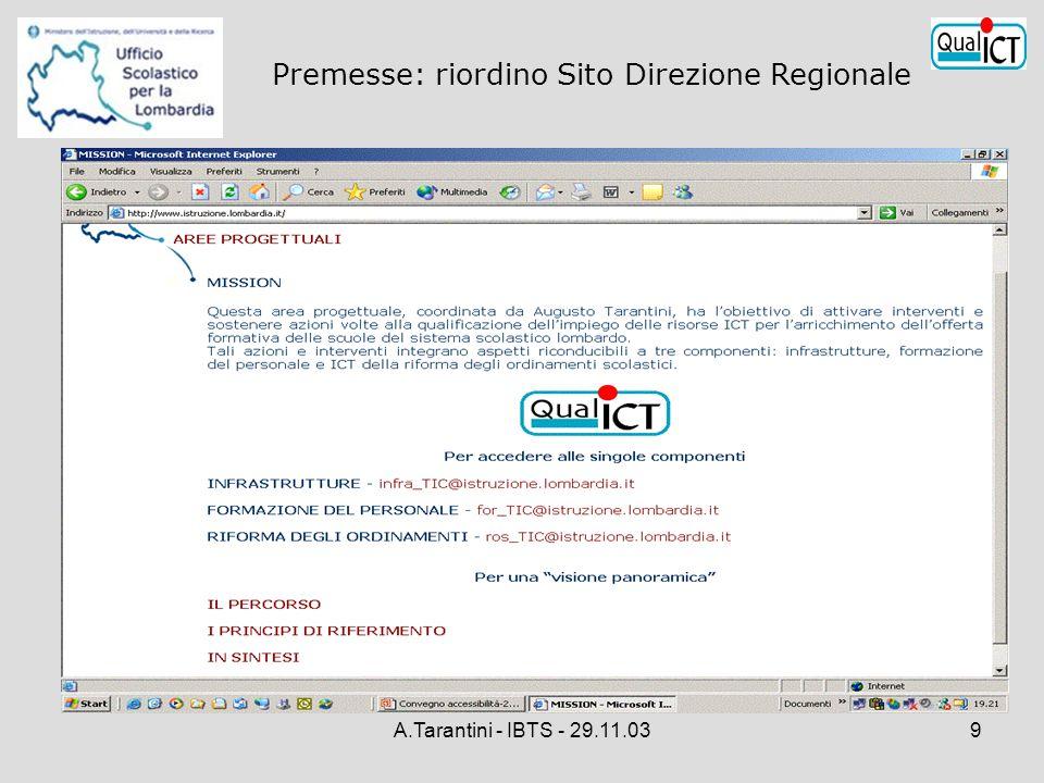 A.Tarantini - IBTS - 29.11.039 Premesse: riordino Sito Direzione Regionale