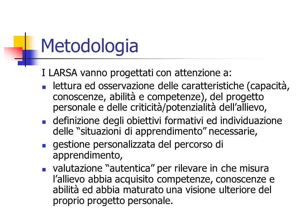 Metodologia I LARSA vanno progettati con attenzione a: lettura ed osservazione delle caratteristiche (capacità, conoscenze, abilità e competenze), del