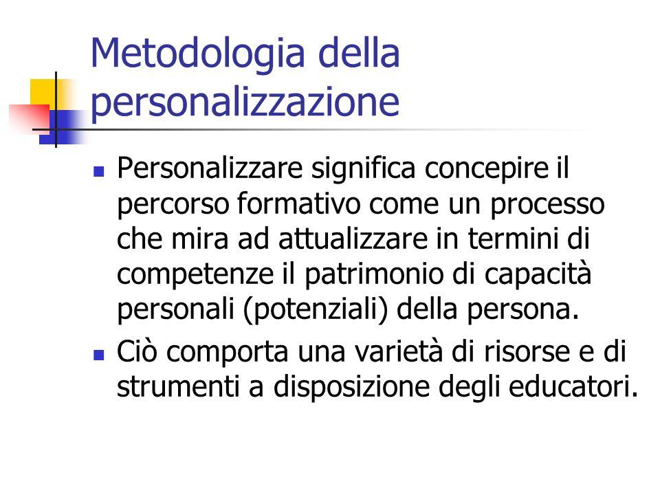 Metodologia della personalizzazione Personalizzare significa concepire il percorso formativo come un processo che mira ad attualizzare in termini di c