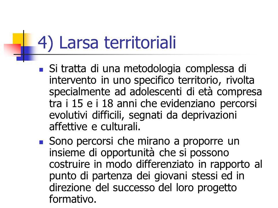 4) Larsa territoriali Si tratta di una metodologia complessa di intervento in uno specifico territorio, rivolta specialmente ad adolescenti di età com