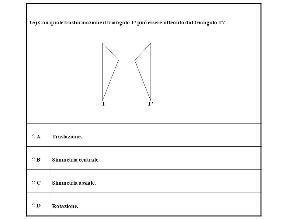 15) Con quale trasformazione il triangolo T può essere ottenuto dal triangolo T? T T Traslazione. Simmetria centrale. Simmetria assiale. Rotazione.