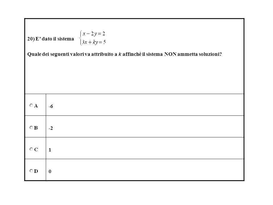 20) E dato il sistema Quale dei seguenti valori va attribuito a k affinché il sistema NON ammetta soluzioni? -6 -2 1 0