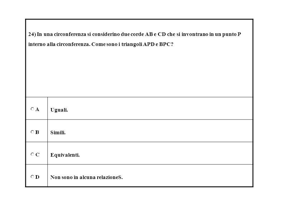 24) In una circonferenza si considerino due corde AB e CD che si invontrano in un punto P interno alla circonferenza. Come sono i triangoli APD e BPC?