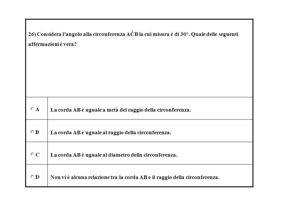 26) Considera langolo alla circonferenza AĈB la cui misura è di 30°. Quale delle seguenti affermazioni è vera? La corda AB è uguale a metà del raggio