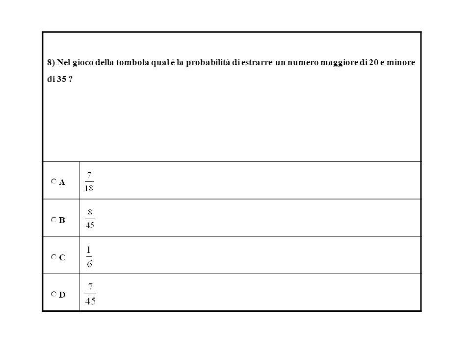 8) Nel gioco della tombola qual è la probabilità di estrarre un numero maggiore di 20 e minore di 35 ?