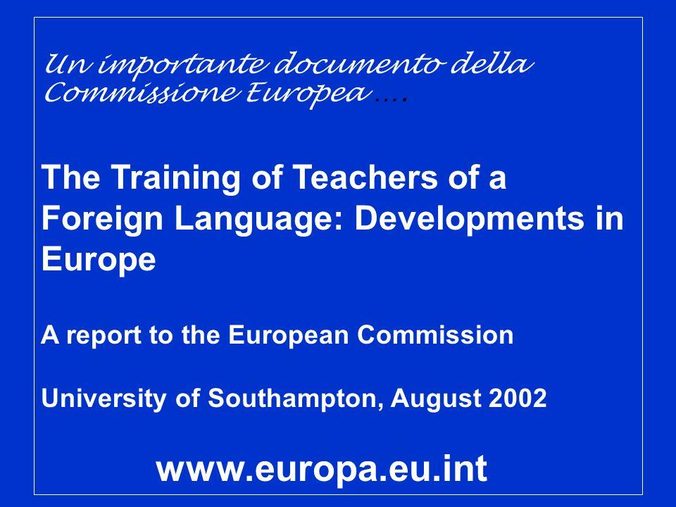 Un importante documento della Commissione Europea ….