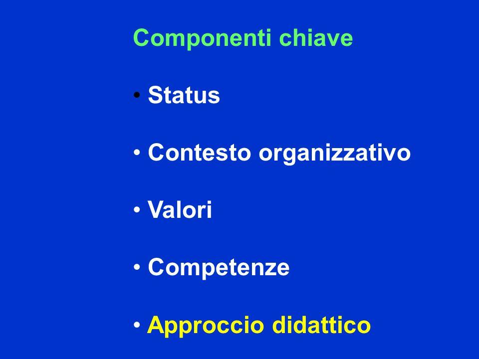 Componenti chiave Status Contesto organizzativo Valori Competenze Approccio didattico