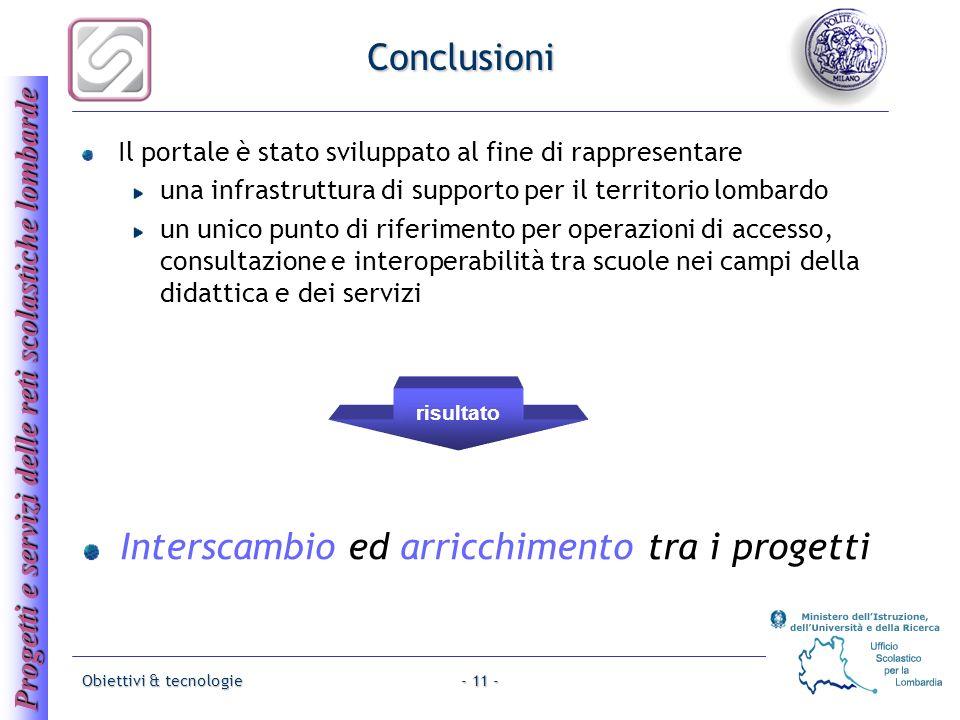 Progetti e servizi delle reti scolastiche lombarde Obiettivi & tecnologie- 11 - Conclusioni Il portale è stato sviluppato al fine di rappresentare una