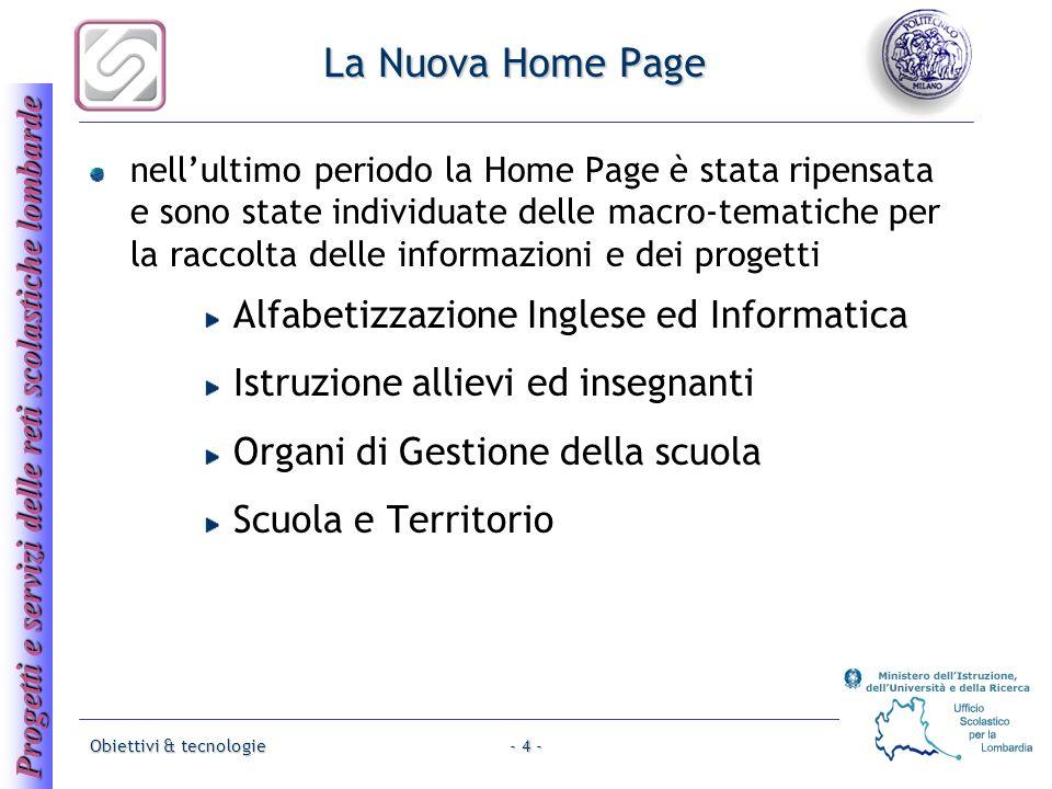 Progetti e servizi delle reti scolastiche lombarde Obiettivi & tecnologie- 4 - La Nuova Home Page nellultimo periodo la Home Page è stata ripensata e
