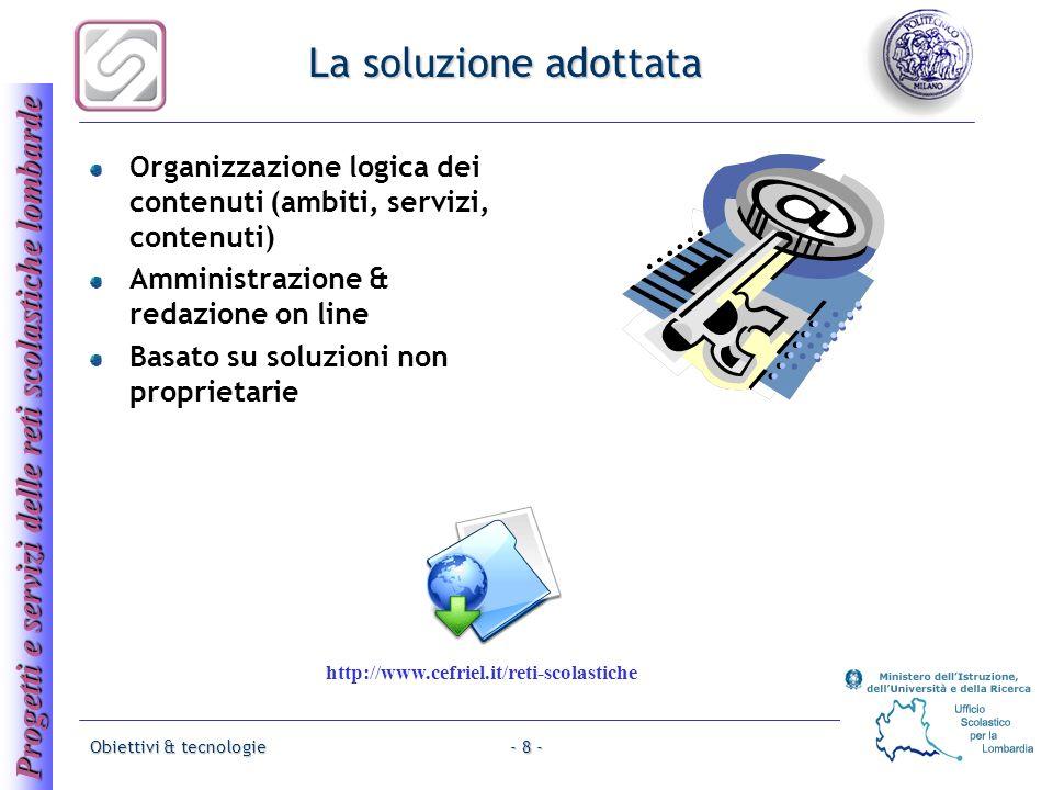 Progetti e servizi delle reti scolastiche lombarde Obiettivi & tecnologie- 8 - La soluzione adottata Organizzazione logica dei contenuti (ambiti, serv