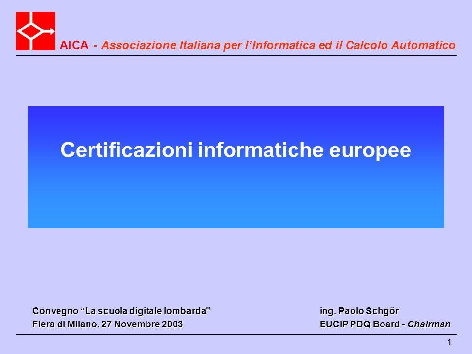 AICA 1 Certificazioni informatiche europee - Associazione Italiana per lInformatica ed il Calcolo Automatico ing. Paolo Schgör EUCIP PDQ Board - Chair
