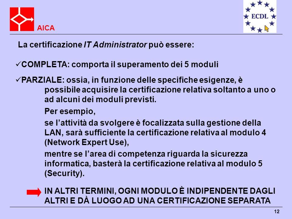 AICA 12 La certificazione IT Administrator può essere: COMPLETA: comporta il superamento dei 5 moduli PARZIALE: ossia, in funzione delle specifiche es