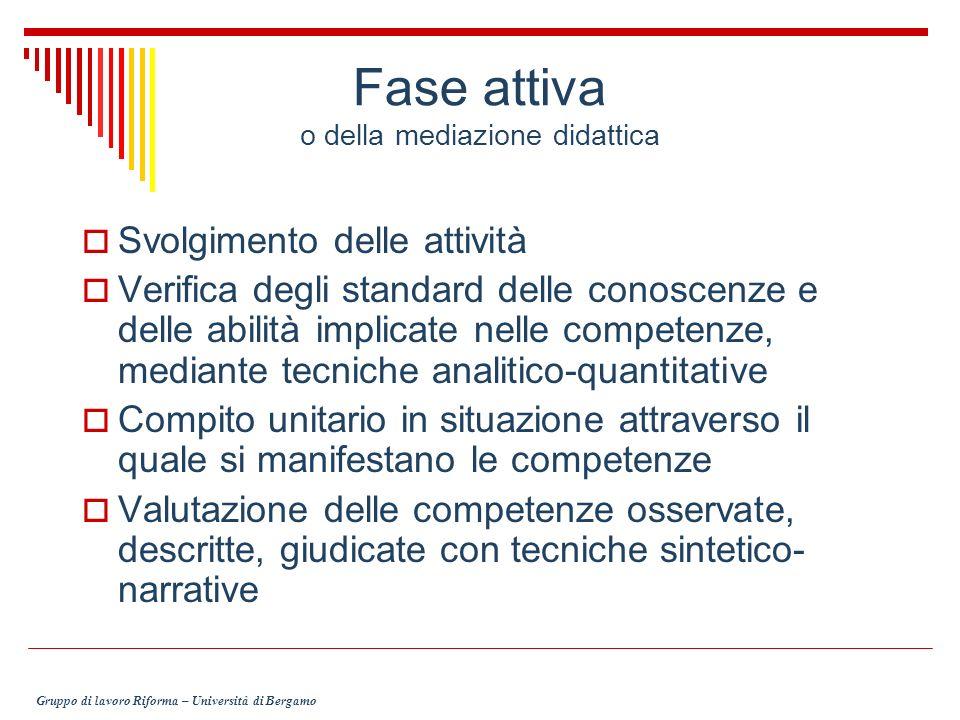 Fase attiva o della mediazione didattica Svolgimento delle attività Verifica degli standard delle conoscenze e delle abilità implicate nelle competenz