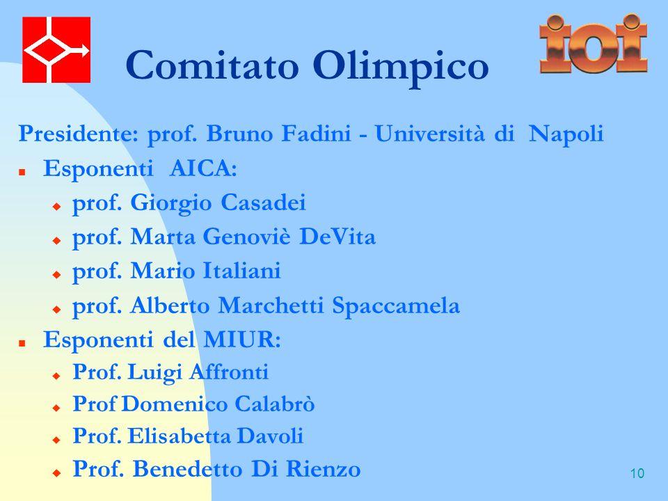 10 Comitato Olimpico Presidente: prof. Bruno Fadini - Università di Napoli Esponenti AICA: prof.