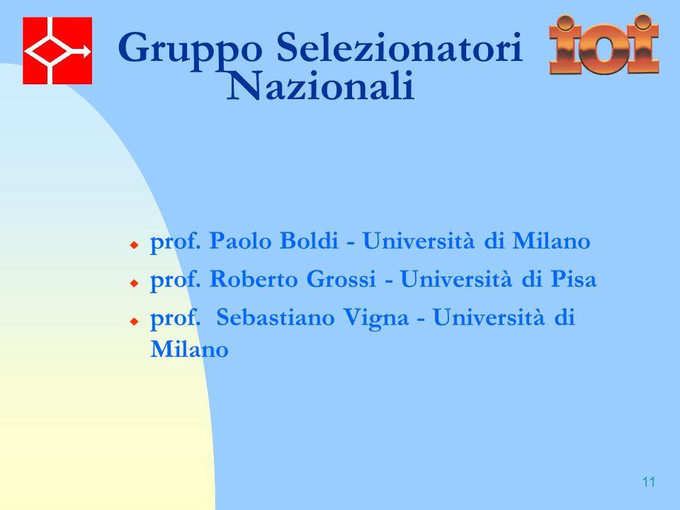 11 Gruppo Selezionatori Nazionali prof.Paolo Boldi - Università di Milano prof.
