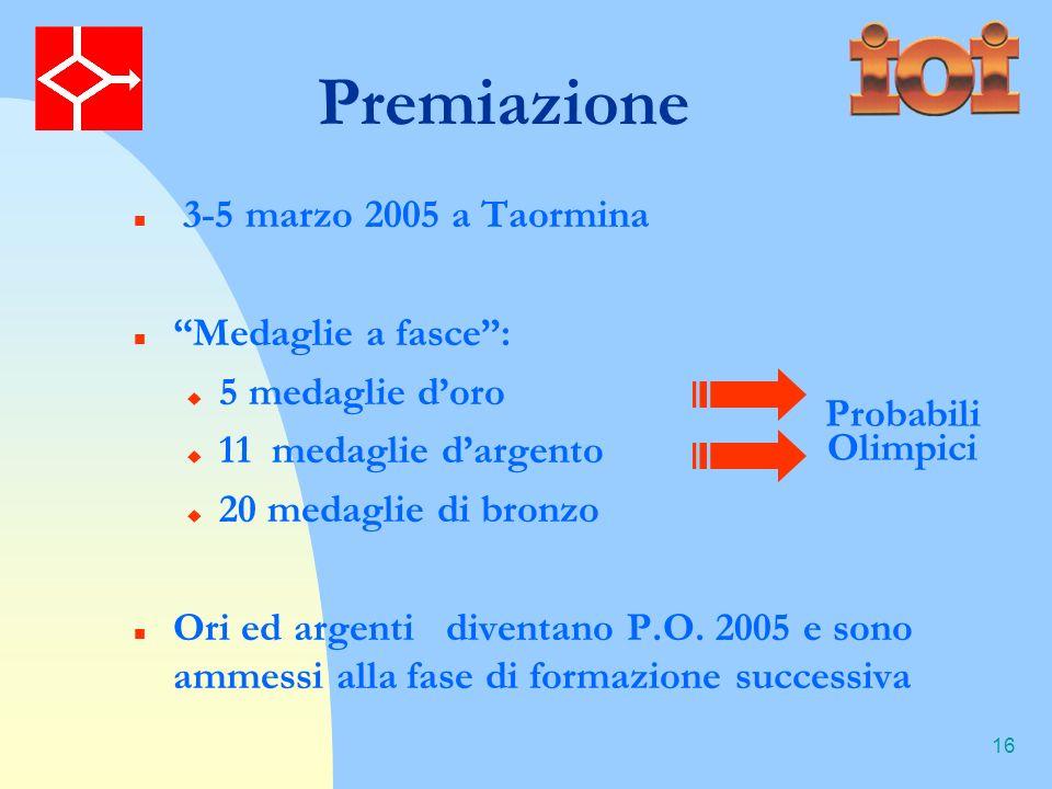 16 Premiazione 3-5 marzo 2005 a Taormina Medaglie a fasce: 5 medaglie doro 11 medaglie dargento 20 medaglie di bronzo Ori ed argenti diventano P.O.