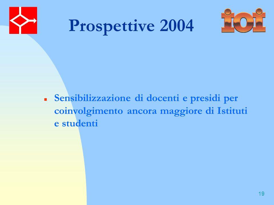 19 Prospettive 2004 Sensibilizzazione di docenti e presidi per coinvolgimento ancora maggiore di Istituti e studenti