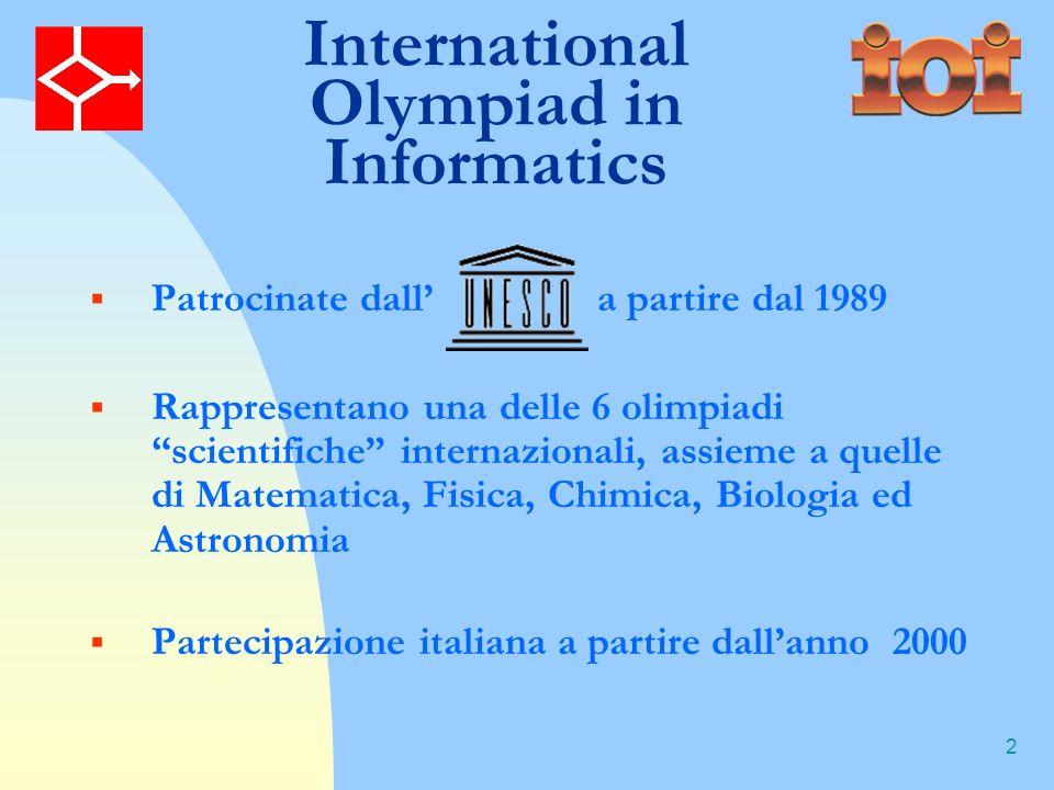 2 Patrocinate dall a partire dal 1989 Rappresentano una delle 6 olimpiadi scientifiche internazionali, assieme a quelle di Matematica, Fisica, Chimica, Biologia ed Astronomia Partecipazione italiana a partire dallanno 2000 International Olympiad in Informatics