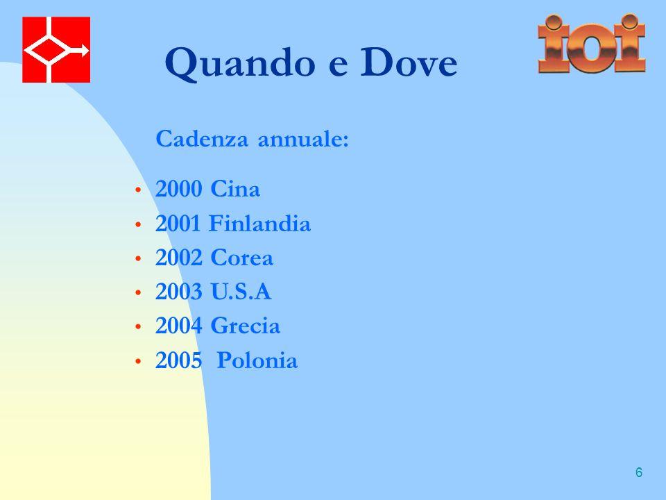 6 Quando e Dove 2000 Cina 2001 Finlandia 2002 Corea 2003 U.S.A 2004 Grecia 2005 Polonia Cadenza annuale: