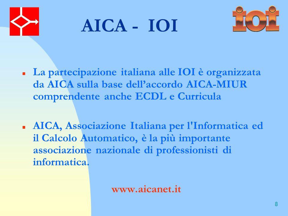 8 AICA - IOI La partecipazione italiana alle IOI è organizzata da AICA sulla base dellaccordo AICA-MIUR comprendente anche ECDL e Curricula AICA, Associazione Italiana per l Informatica ed il Calcolo Automatico, è la più importante associazione nazionale di professionisti di informatica.