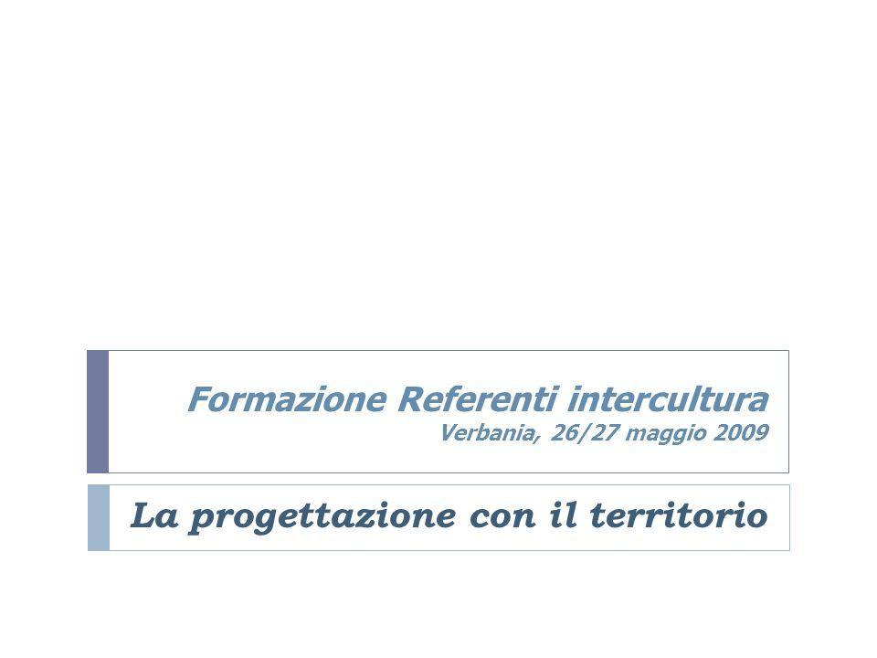 Formazione Referenti intercultura Verbania, 26/27 maggio 2009 La progettazione con il territorio
